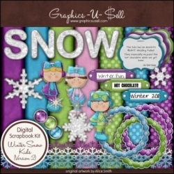 Download - Winter Snow Kids 2 - Digital Scrap Kit