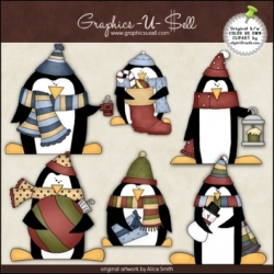 Download - Clip Art - Christmas Penguins 1