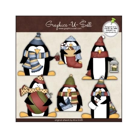Download - Clip Art - Christmas Penguins 1