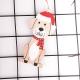 Wooden Dog Decoration - Dog with Santa Hat (1pc)