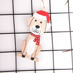 Wooden Dog Decoration - Dog with Santa Hat (1pc)