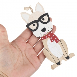 Wooden Dog Decoration - Dog with Glasses (1pc)