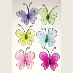 Wire Butterflies with Gem (6pcs)