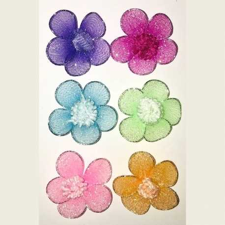 Wire Flowers with Gem (6pcs)