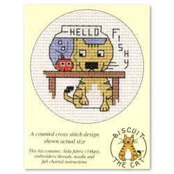 Mouseloft Cross Stitch - Biscuit the Cat, Hello Fishy
