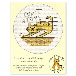 Mouseloft Cross Stitch - Biscuit the Cat, Can't Stop!