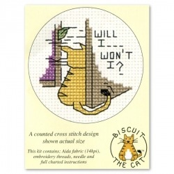 Mouseloft Cross Stitch - Biscuit the Cat, Will I Won't I?