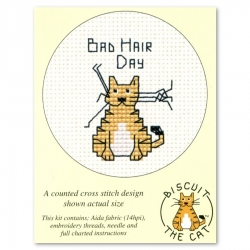 Mouseloft Cross Stitch - Biscuit the Cat, Bad Hair Day