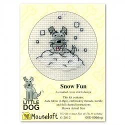 Mouseloft Cross Stitch - Little Dog, Snow Fun