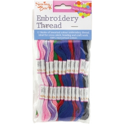 Embroidery Thread 12pk Blues & Pinks (SEW1019A)