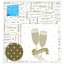 Giftmaker Gold Celebrate Design Card Gift Wrap pack (EWGD)