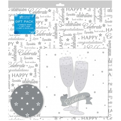 Giftmaker Silver Celebrate Design Card Gift Wrap pack (EWOC)