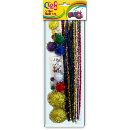 Glitter Craft Set with Pipe-cleaners & Pom-poms (P2479)