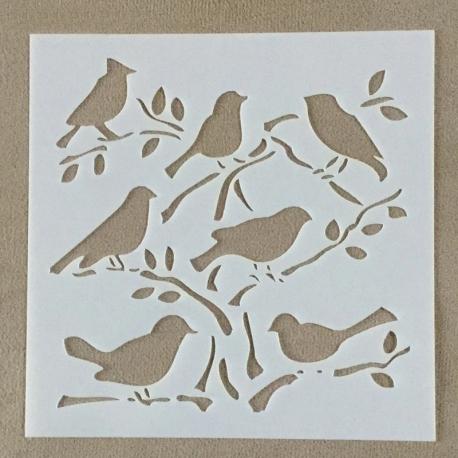 13 x 13cm Reusable Stencil - Birds (1pc)