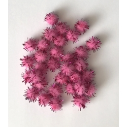 Tinsel Pom-poms 10mm - Pink (100pcs)