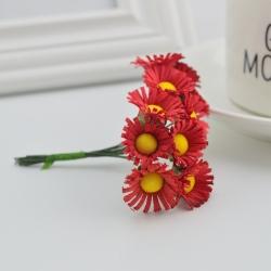 Mini Fabric Daisy Bunch - Red (10 flowers)