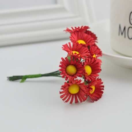 Mini Fabric Daisy Bunch - Red (10 flowers)