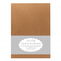 "Dovecraft 8 Gold Metallic 5""x7"" Cards & Envelopes (DCCE001)"