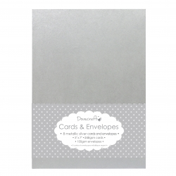 "Dovecraft 8 Silver Metallic 5""x7"" Cards & Envelopes (DCCE003)"