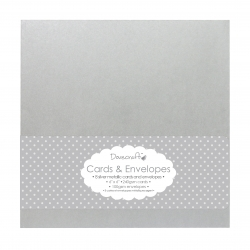 """Dovecraft 8 Silver Metallic 6""""x6"""" Cards & Envelopes (DCCE004)"""