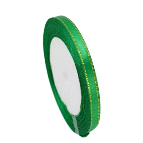 6mm Gold-Edge Satin Ribbon - Forest Green (25 yards)