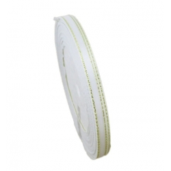 6mm Gold-Edge Satin Ribbon - White (25 yards)