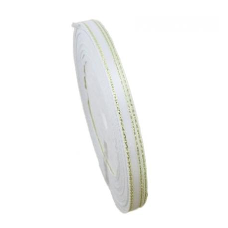 6mm Gold-Edge Satin Ribbon - White (25 yards)
