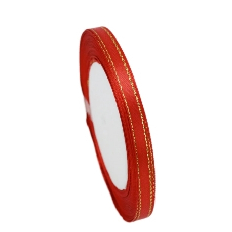 6mm Gold-Edge Satin Ribbon - Red (25 yards)