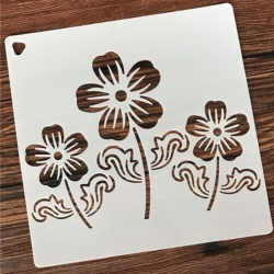 Medium Reusable Stencil - 3 Flowers (1pc)
