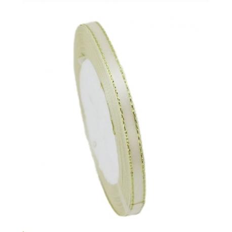 6mm Gold-Edge Satin Ribbon - Cream (25 yards)