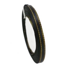 6mm Gold-Edge Satin Ribbon - Black (25 yards)