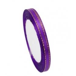 6mm Gold-Edge Satin Ribbon - Purple (25 yards)