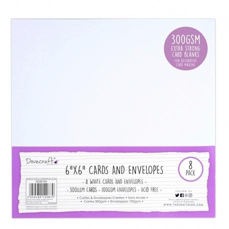 "Dovecraft 8 White 300gsm 6""x6"" Cards & Envelopes (DCBS194)"