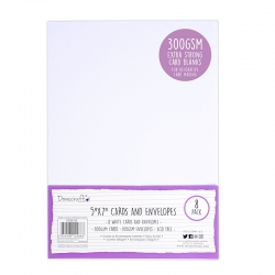 "Dovecraft 8 White 300gsm 7""x5"" Cards & Envelopes (DCBS195)"