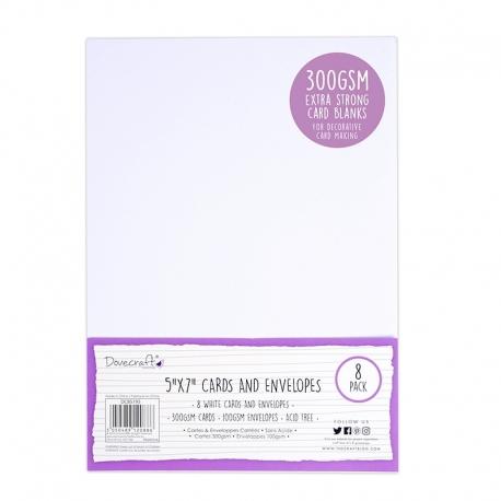 "Dovecraft 8 White 300gsm 7""x5"" Cards & Envelopes (DCBS195)"