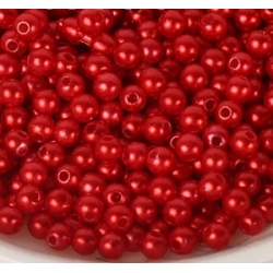 4mm Round Pearl Beads - Red (200 pack)