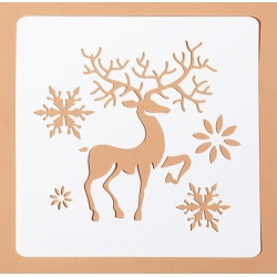 13 x 13cm Reusable Stencil - Ornate Reindeer (1pc)