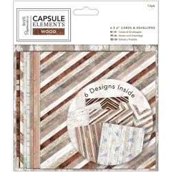 6 x 6 Cards & Envelopes (12pk) - Elements Wood (PMA 151100)