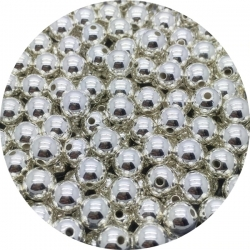 4mm Round Pearl Beads - Metallic Silver (200 pack)