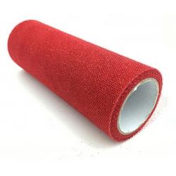 Glitter Mesh Tulle - Red (15cm x 10yds)