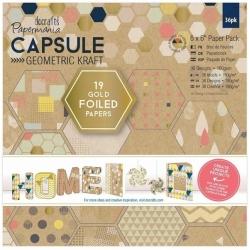 "6 x 6"" Paper Pack (36pk) - Geometric Kraft (PMA 160245)"