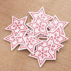Wooden Folk Christmas Stars, White (10pcs)