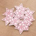Wooden Folk Christmas Stars, White (10pcs)