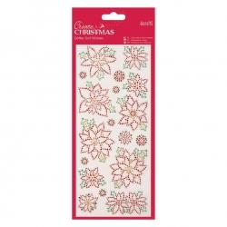 Glitter Dot Stickers - Christmas Flowers (PMA 818925)
