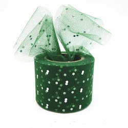 Tulle Ribbon Roll with Sequins - Green (5cm x 22m)