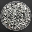 6mm Half-beads - Silver (100 pack)