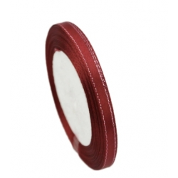 6mm Metallic-Edge Satin Ribbon - Burgundy (25 yards)