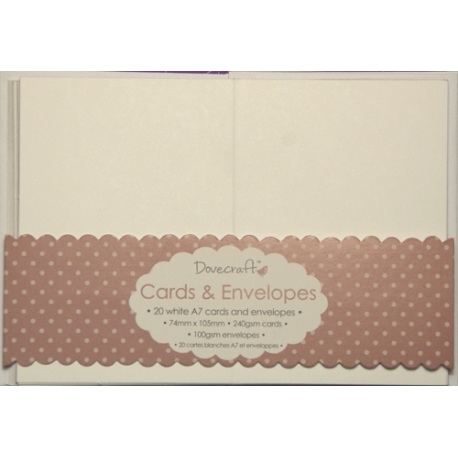 Dovecraft 20 Mini White Cards and Envelopes (DCCE032)