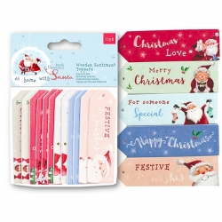 At Home with Santa - Wooden Sentiments Toppers 12pcs (PMA