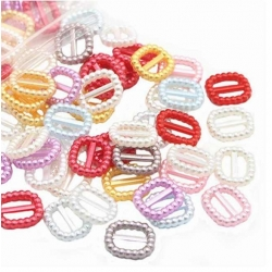 Rectangular Pearl Ribbon Sliders - Assorted (60pcs)